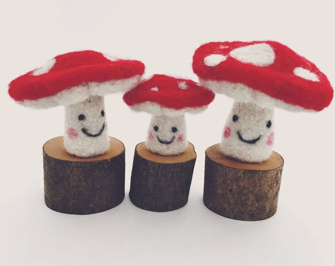 Sweet little needle felted toadstool family