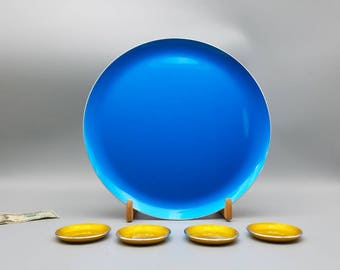 50s 60s mcm  Bjorn Engo Emalox  Norway 5 pc Scandinavian Mod aluminum enamel platter blue + 4 coasters all have labels