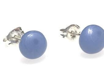 Earrings - Handmade Fused Glass Stud Earrings, Slate Blue Glass and Sterling Silver Stud Earrings
