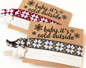 Holiday Hair Tie Gifts | Gold Snowflake + Sparkle Hair Ties, Winter Bachelorette Hair Tie Favor, Baby It's Cold Outside, Christmas Hair Ties