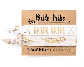 Bride Tribe Boho Bachelorette Favors | Gold Feather Hair Tie Favors, Team Bride Hair Ties, Boho Bachelorette Party Favors, Bridesmaid Gift