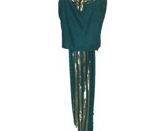 Vintage 1978 Teal Green Gold Thread Halter & Pants