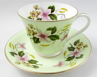 Aynsley Green Tea Cup and Saucer with Flowers, Vintage Bone China, Aynsley Cup and Saucer