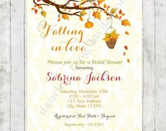 SALE Fall Bridal Shower Invitation - Printed Fall Bridal Shower Invitation by Dancing Frog Invitations