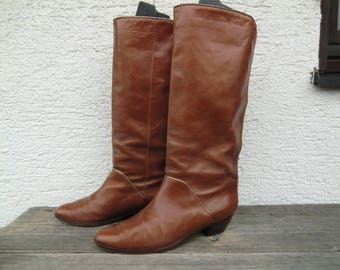 Genuine Leather boots True vintage 70s 80s cognac K + s brown leather boots 70s 80SD Seventies eighties