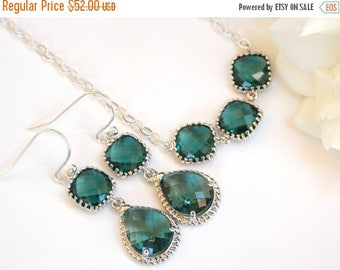 SALE Bridesmaid Jewelry, Teal Earrings and Necklace Set, Aqua Green, Green, Sterling Silver, Bridesmaids Gifts,Dangle,Pendant Set, Gifts Set
