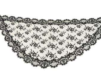 Ancient Spanish black mantilla lace, catholic veil, black lace, chapel veil, chapel mantilla.