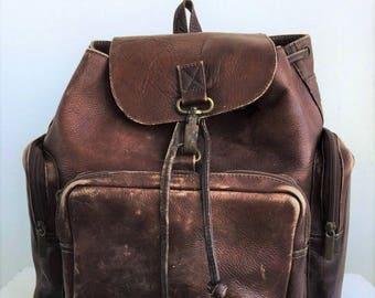 Vintage leather backpack | Etsy