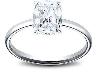 14K Gold 1.05 ct Cushion Cut Diamond Solitaire Engagement Ring F I1