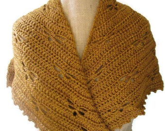 MADE TO ORDER Outlander Dragonfly in Amber crocheted shawl or wrap or scarf or cowl