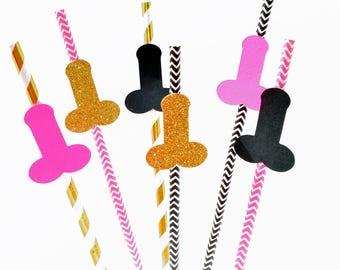 Penis Straws, Bachelorette Straws, Bachelorette Party, Bachelorette Ideas, Pink, Black and Gold, Bridal Shower Ideas, Bachelorette Decor