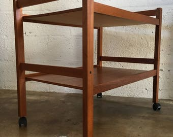 Vintage Mid-Century Modern Danish Teak Bar Cart,