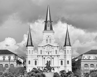Jackson Square, St Louis Cathedral, New Orleans Photography, Black and White Print, French Quarter, NOLA, Big Easy, Travel Decor, Wall Art