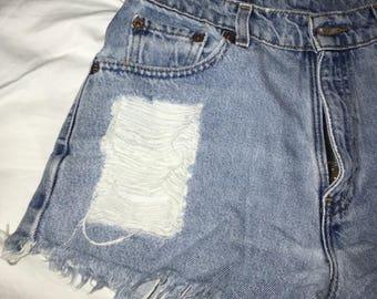 Levi's Vintage Medium Wash Destroyed Denim High Waisted Shorts