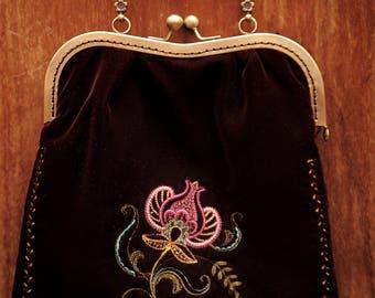 Dark purple velvet vintage purse