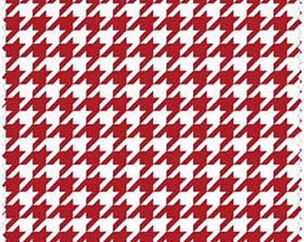 Red White Houndstooth Flannel Fabric