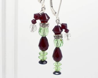 Grinch Earrings with Stockinged Dangle Hats - Sterling Silver & Swarovski Crystal Jewelry