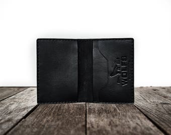 Wallet, Leather Wallet, Slim Wallet, Minimalist - Everyday Wallet (black)
