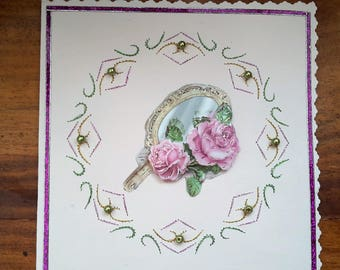 Roses and mirror - map 3 D embroidered made hand