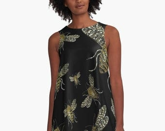 BEES A-Line Swing Dress Trapeze Dress XS S M L XL 2XL Insect Animal Honey Black Gold Silver Yellow Woman Teen Wearable Art Clothing