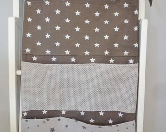 Wall storage compartment or Chair, cotton fabric, stars and dots
