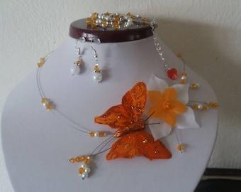 Necklace bracelet earrings orange white Butterfly wedding silk flower wedding earrings bridal unique