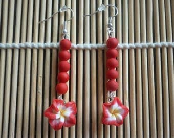 Red frosted acrylic and polymer clay flower beads earrings.