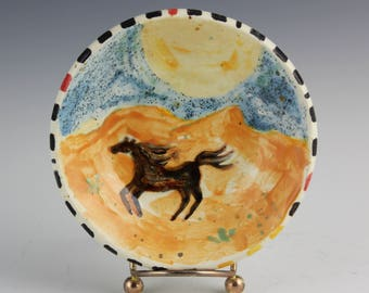 Horse Ceramic Dish, Desert Art Pottery by Arizona Artist, Karlene Voepel