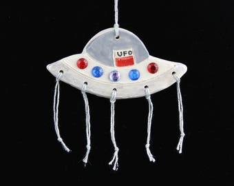 UFO Flying Saucer Ornament, Handmade Ceramic Christmas Ornament by Karlene Voepel.  Sold individually.