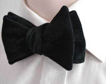 Black velvet bow tie - Self-tie bow tie - Mens bow tie - Gift for Men - Gift for Him - Black tie - Velvet bow tie - Tuxedo