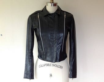 1990's Black leather motorcycle jacket