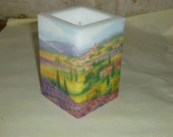 White Square candle with towel