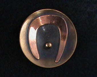 Round Copper and Brass Pin with Abstract Design
