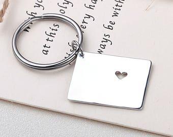 I heart Colorado keychain - Colorado keyring - Map Jewelry - State Charm - Map keychain