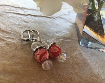 Earrings ' Silver and Red flowered beads