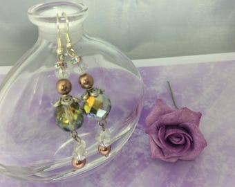 Earrings romantic stained glass beads and Pearl