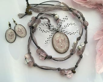 romantic set pink dots and nude