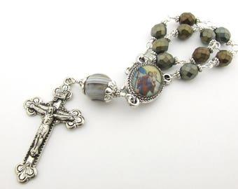 Car Rosary - Saint Christopher Patron Saint of Travelers Auto Rosary One Decade Unbreakable Rosary Beads - Catholic Gift