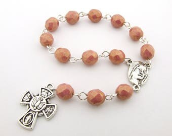 Catholic Rosary Beads with Four Way Cross  & AVE MARIA Centerpiece - Coral Pink Czech Glass One Decade Rosary Beads Tenner - Catholic Gift