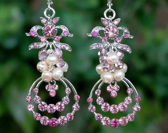 Pink Cluster Earrings.Freshwater Pearl.Jeweled.Crystal.Silver.Bridal.Statement.Dangle.Chandelier.Wedding.Long Earrings.Bold.Big.Handmade.