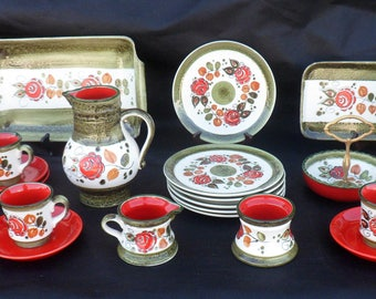 Tirol Schramberg Luncheon, Coffee, or Chocolate Set, 24 Pieces, Hand-Painted German