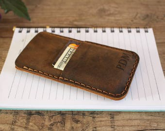 iPhone 8 Case, Leather iPhone 8 Plus Case, iPhone Case with Card Holder, Personalized iPhone 8 Wallet Case, Rustic Brown Leather