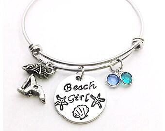 Beach Girl bangle bracelet, Hand stamped beach girl bangle bracelet,  personalized beach girl bangle bracelet, beach lover bracelet, beach