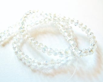 30 ROUND CLEAR IRIDESCENT CRYSTAL BEADS HAVE FACETED 4 MM