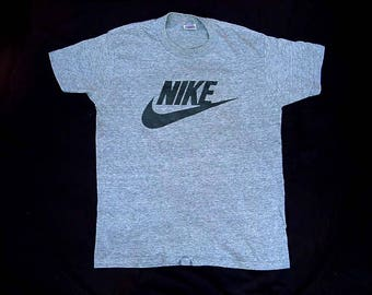 80's Nike T Shirt Vintage Tee Heather Gray Black Swoosh Tri Blend Men's Large USA Polyester Cotton Rayon Classic 1980s L Excellent Condition