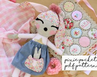 Pixie Pocket Bunny Doll PDF Sewing Pattern, Softie Pattern, Woodland Doll Pattern, Bunny Pattern, Sewing Pattern, Cloth Doll, Rag Doll