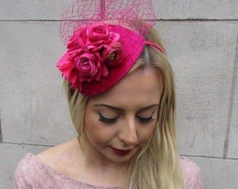 Hot Pink Cerise Rose Flower Net Fascinator Hair Headband Races Teardrop Vtg 4974