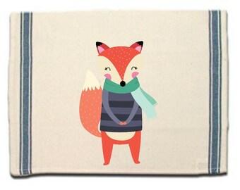 Fox in Sweater Kitchen Towel Fox lover gift Tea Towel Flour Sack Material Woodland Animals Dish Towel Whimsical Kitchen Towel Dish Cloth