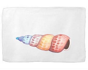 Watercolor Shell Kitchen Towel Ocean Dish Towel Tea Towel Flour Sack Towel From the Sea Towel Flour Sack Kitchen Towel Flour Sack Dish Cloth