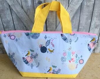 Knitting Project Bag - Boho Fox, Spring Crochet Project Bag, Spring Boho Kate bag, knitting bag, wedge knitting bag,Toad Hollow Knitting Bag